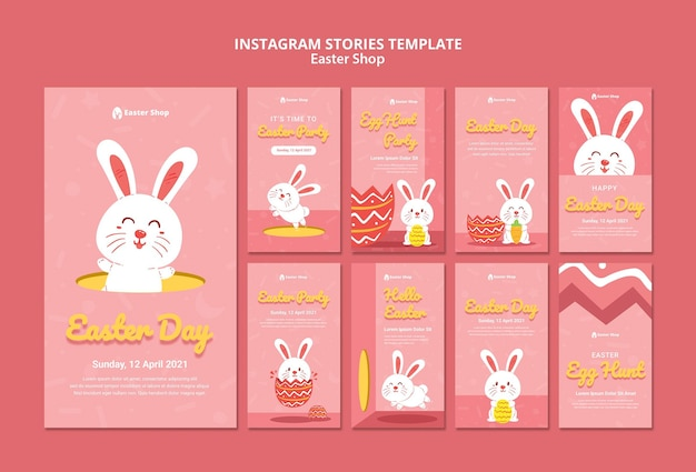 Joli modèle d'histoires instagram pour le jour de pâques