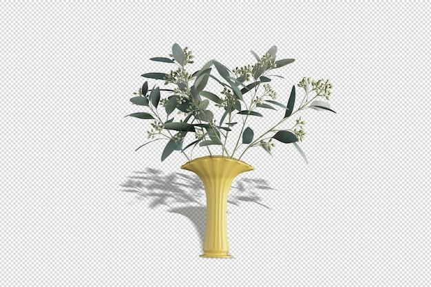 Joli vase avec des fleurs en rendu 3d