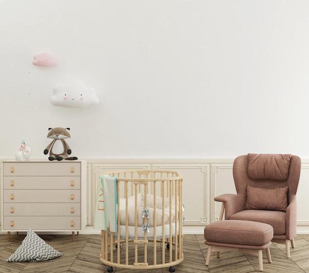 Jolie chambre de bébé pastel avec mur de maquette