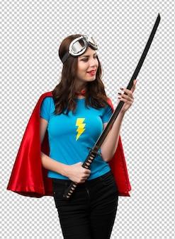 Jolie fille de super-héros avec katana