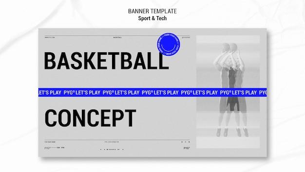 Jouer au modèle de bannière de concept de basket-ball