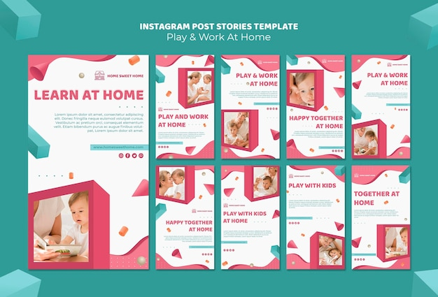 Jouer et travailler à la maison modèle d'histoires de publication instagram