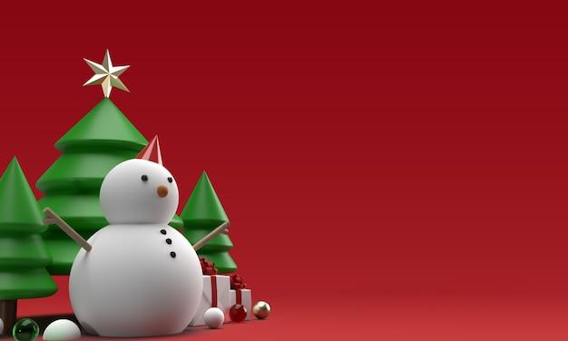 Jouets de bonhomme de neige de noël avec des arbres en rendu 3d