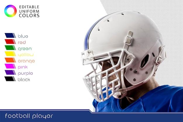 Joueur de football américain avec plusieurs uniformes colorés découpés