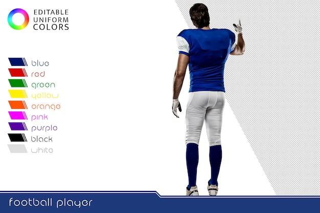 Joueur de football américain avec plusieurs uniformes colorés