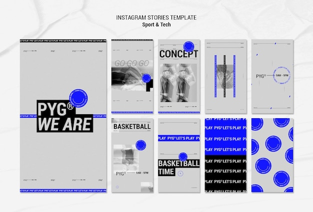 Jouez au basket-ball concept instagram stories