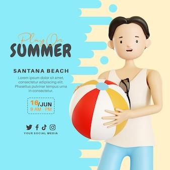 Jouez sur une bannière d'été avec un personnage 3d avec ballon