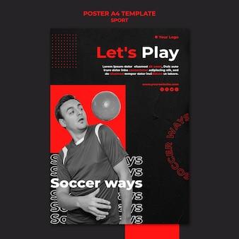 Jouons au football modèle d'affiche