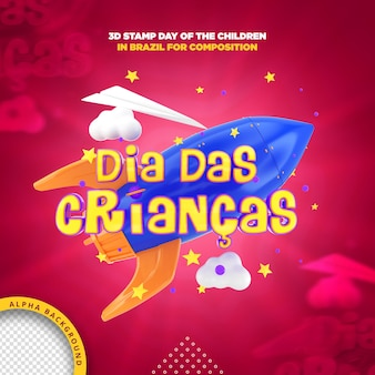 Jour Du Timbre 3d Des Enfants Au Brésil Pour La Composition PSD Premium