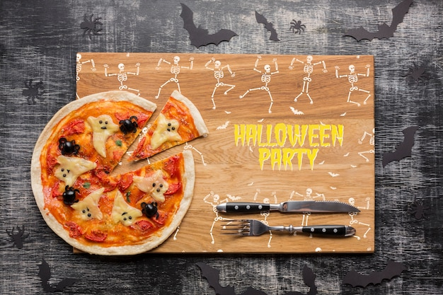 Jour d'halloween avec un concept de pizza spécifique