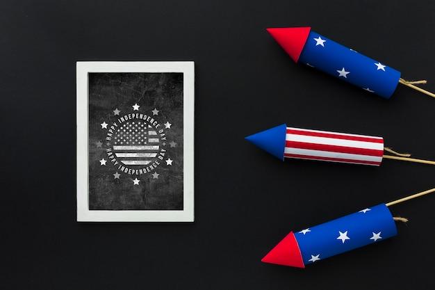 Jour de l'indépendance de la vue de dessus avec maquette