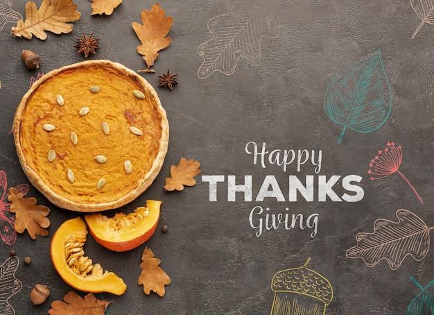 Jour de thanksgiving avec une tarte délicieuse