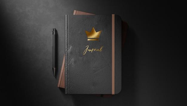 Journal intime en cuir noir maquette logo de luxe sur