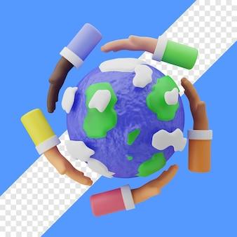 Journée des droits de l'homme avec terre et geste circulaire de la main