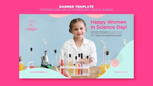 Journée des femmes et des filles dans le modèle de bannière de science