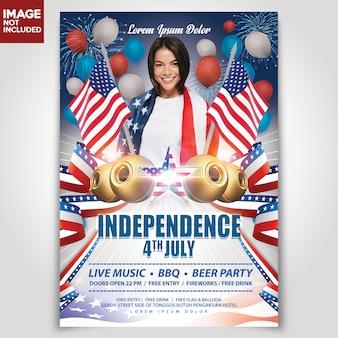 Journée de l'indépendance amérique usa flyer de modèle