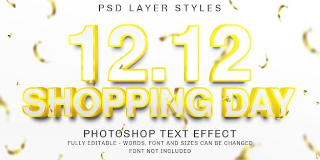 Journée de magasinage créative 12.12, effet de texte d'or de contour