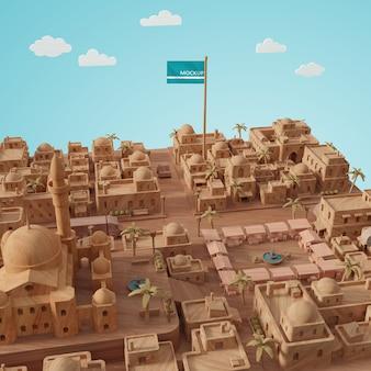 Journée mondiale des villes modèle 3d avec maquette