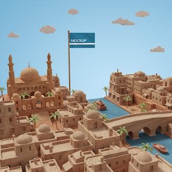 Journée mondiale des villes modèle 3d