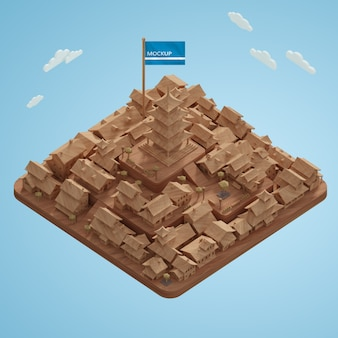Journée mondiale des villes modèle miniature 3d sur table