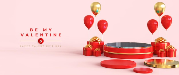 Joyeuse saint-valentin avec podium pour la présentation du produit et la composition 3d
