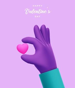 Joyeuse saint-valentin avec rendu 3d de la main