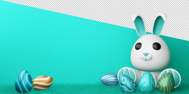 Joyeuses pâques avec lapin mignon et oeufs colorés en rendu 3d