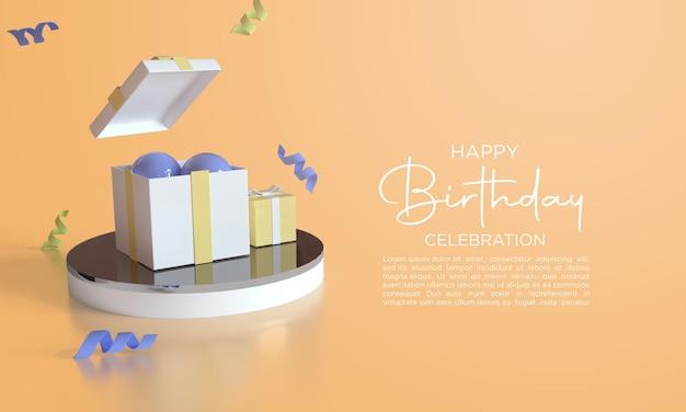 Joyeux anniversaire avec des ballons de rendu 3d et une boîte-cadeau