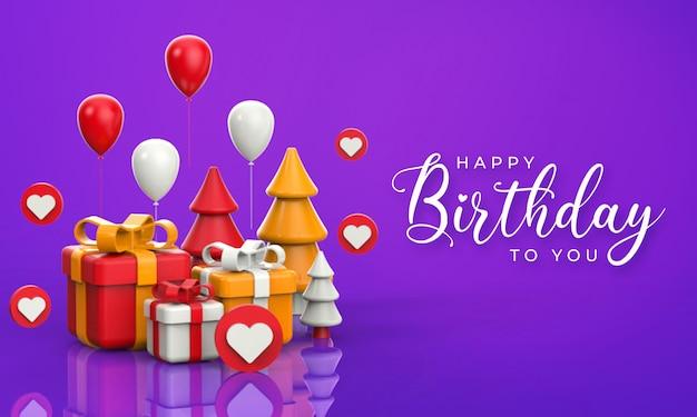 Joyeux anniversaire lettrage avec des ballons et des illustrations de rendu 3d de boîte