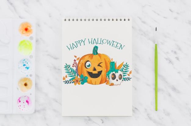 Joyeux halloween dessiner avec une palette acrylique