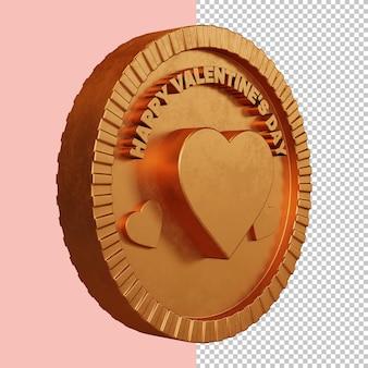 Joyeux jour de la saint-valentin rendu 3d insigne circulaire audacieux maquette isolée