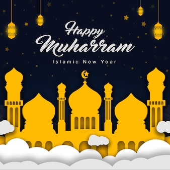 Joyeux muharram nouvel an islamique papier style illustration alimentation modèle de médias sociaux