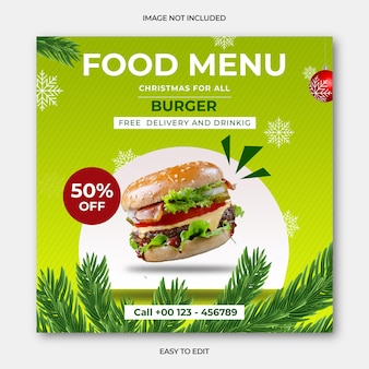 Joyeux noël alimentaire post instagram et menu alimentaire psd premium