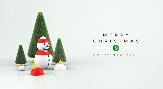 Joyeux noël et bonne année maquette avec décoration de noël 3d
