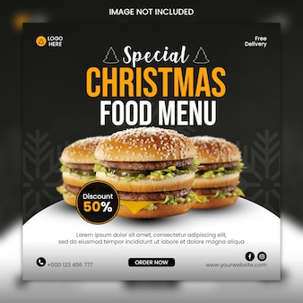 Joyeux noël instagram modèle de nourriture sur les réseaux sociaux