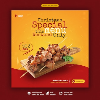 Joyeux noël menu de nourriture et modèle de bannière de médias sociaux de restaurant