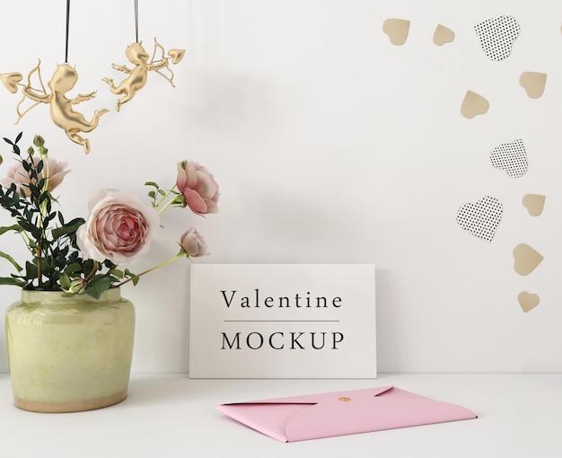 Joyeux saint valentin lettrage sur carte blanche