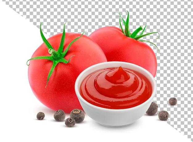Ketchup dans un bol isolé