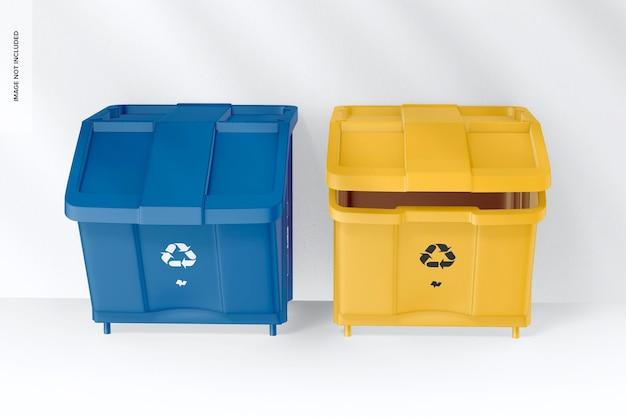 Kit de poubelle avec maquette de couvercle, vue de face