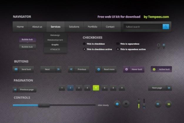 Kit web ui dans un style sombre