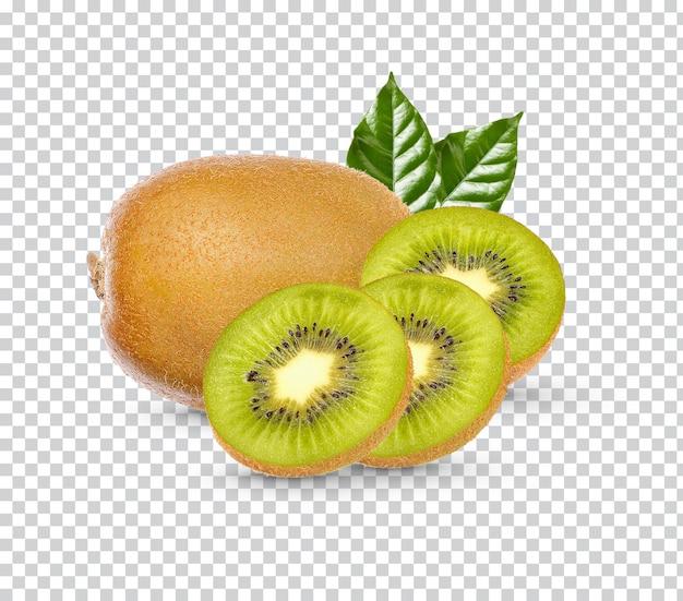 Kiwi frais avec des feuilles isolées