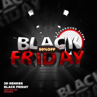 Label black friday rendu réaliste 3d pour les campagnes de promotion et les offres
