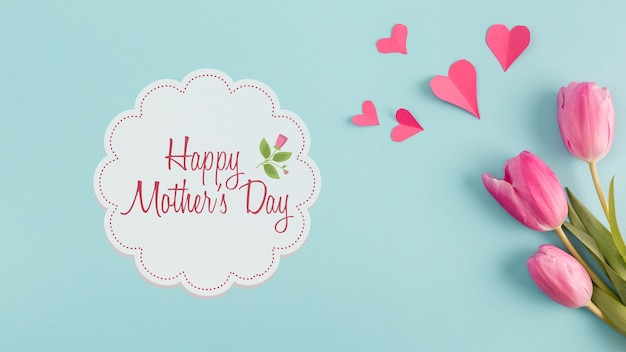 Label maquette avec le concept de la fête des mères
