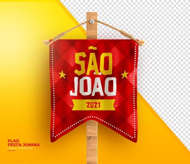 Label sao joao 3d render festa junina no brésil drapeaux et corde réaliste