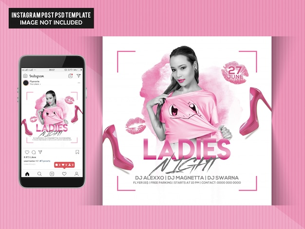Ladies night party flyer pour instagram