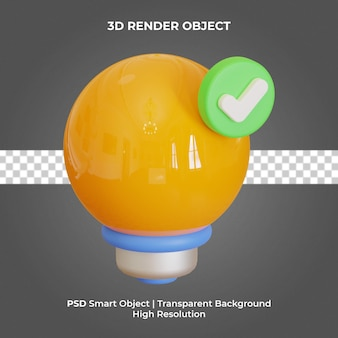 Lampe bol rendu 3d isolé premium psd