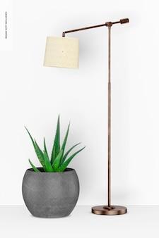 Lampe sur pied cooper avec maquette de plante