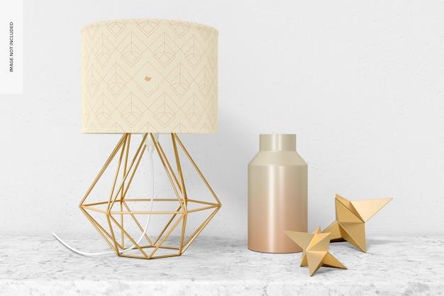Lampe de table industrielle en fer avec maquette de décor