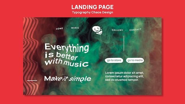 Landing page pour la musique avec le chaos et le brouillard