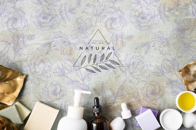 Lay plat de cosmétiques cosmétiques naturels